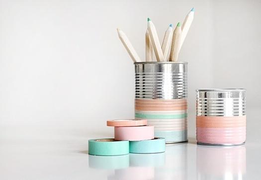 améliorer ton bureau boîte de conserve pastel
